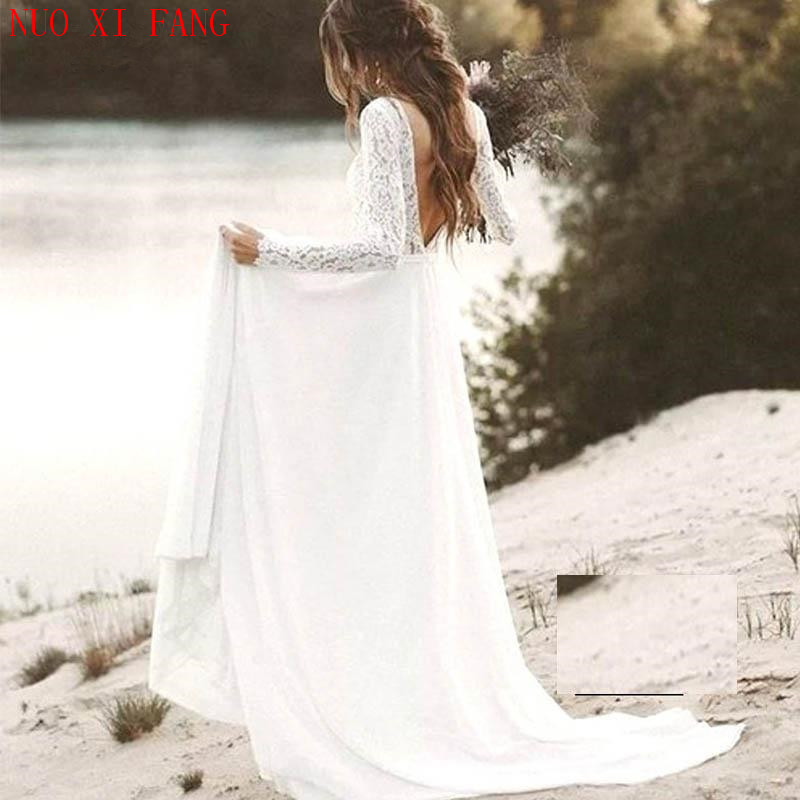 NUOXIFANG Sexy V-neck Backless White Ivory Lace Long Sleeves Beach Long Boho Wedding Dresses 2020 Bridal Gowns Vestido De Noiva