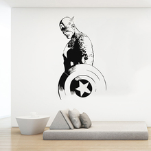 Captain America AWall Decal Vinyl Sticker Comics Superhero Art Decor Stickers Bedroom Boys Room Decoration Mural ultimate comics captain america