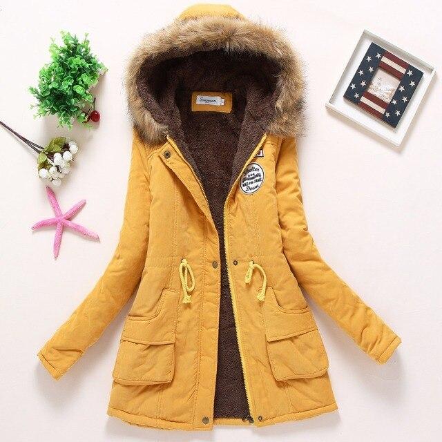 FTLZZ New Winter Coats Women Cotton-wadded Slim Jacket Thermal Warm Parkas Quilt Overcoat Poncho Jaqueta Casacos Feminina 4