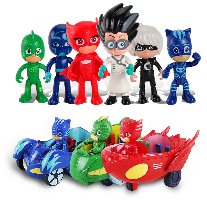 6pcs/set PJ MASKS Toy Car Cat Kid Child Catboy Owlette Gekko Pajamas Doll Juguete Pj Masked Toys For Children Car Gift S06