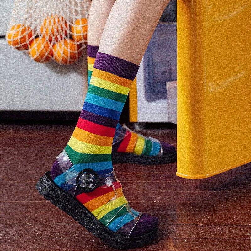 Cotton Elasticity Sweat Women's Long Socks Luxury Candy Color Rainbow Striped Sporty Meias Casual Retro Harajuku Socks