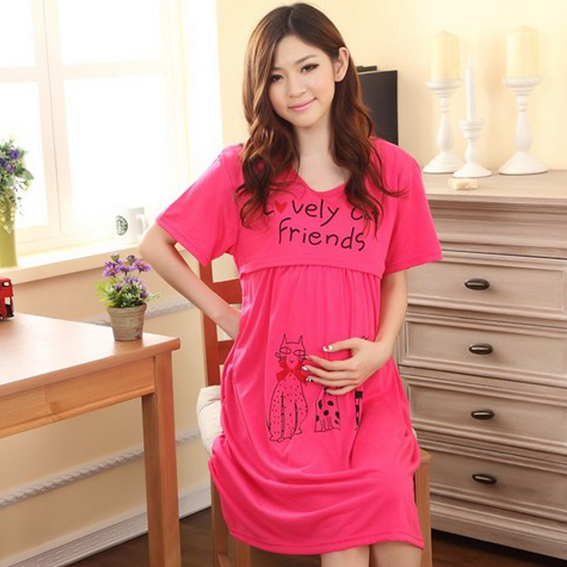2020 Summer Breastfeeding Sleepwear Dress Cartoon Maternity Nursing Pajamas Gray Pregnancy Nightwear Cotton Pregnant Sleepwear