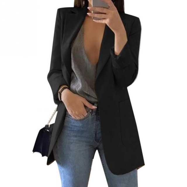 Fashion Solid Color Lapel Long Sleeve Business Women Blazer Coat Suit Suit Office Ladies Slim Cardigan Tops Blazer Outwear