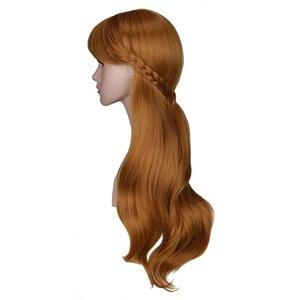Image 2 - QQXCAIW kadınlar uzun kahverengi prenses örgü Cosplay peruk Anna parti kostüm kız yüksek sıcaklık Fiber sentetik saç peruk