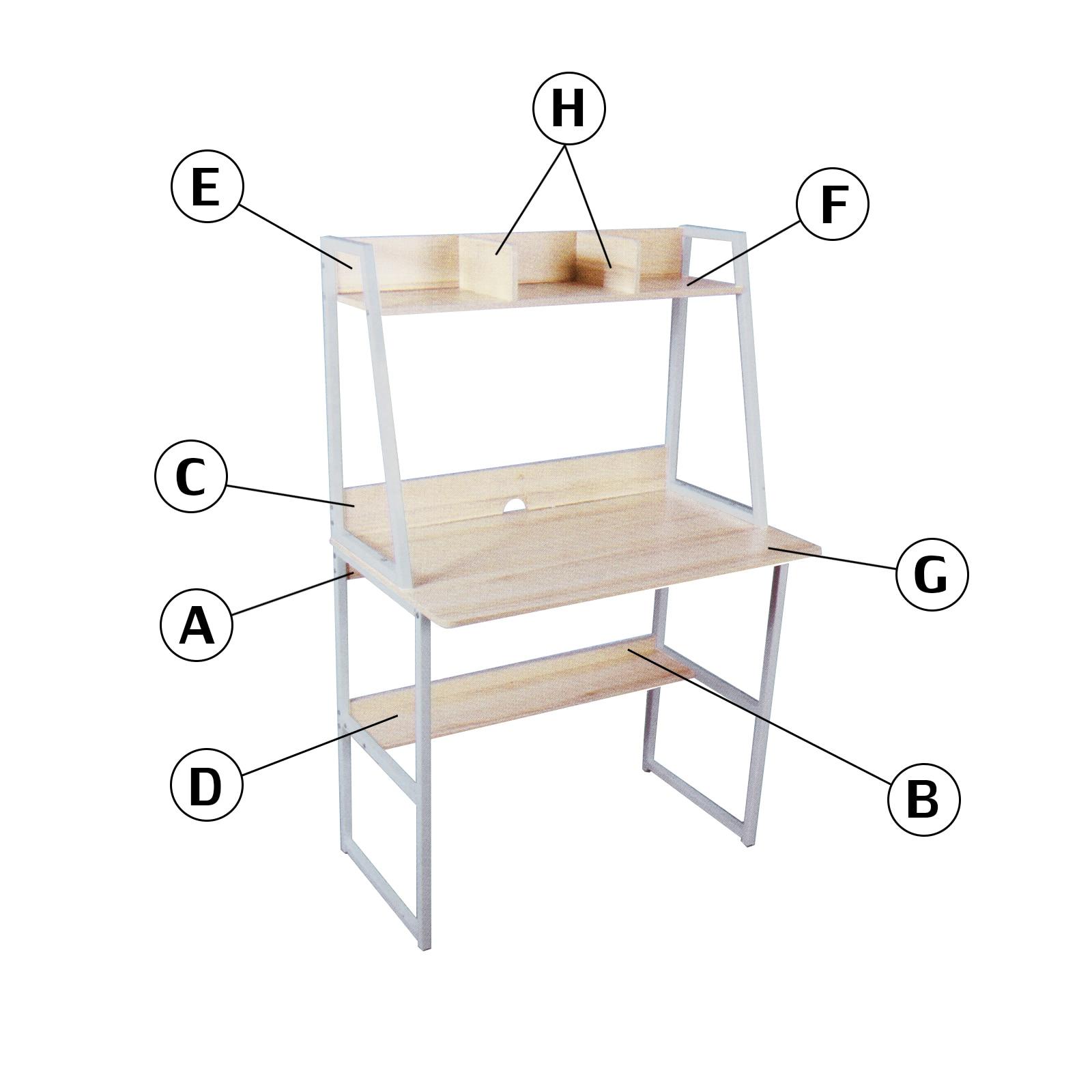 Table multifonctionnelle de jeu de Table de bureau d'école à la maison de meubles de bureau d'ordinateur avec l'étagère pour des livres - 4
