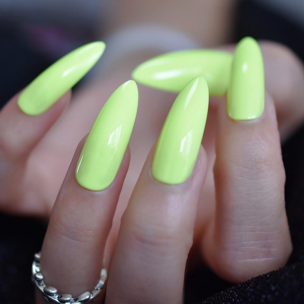 Bardzo Dlugi Neon Zielony Sztuczne Paznokcie Super Stiletto