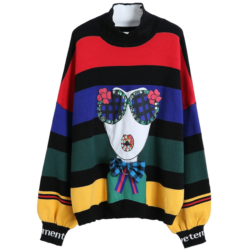 2019 Autumn rainbow stripes loose plus size sweaters women fashion puff sleeve turtleneck knitted sweaters