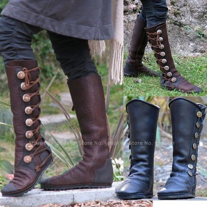 Medieval Retro Women Zipper Tall Tube Leather Boots British Style Men Knight Hunter Carnival Party Performance Cosplay Shoes