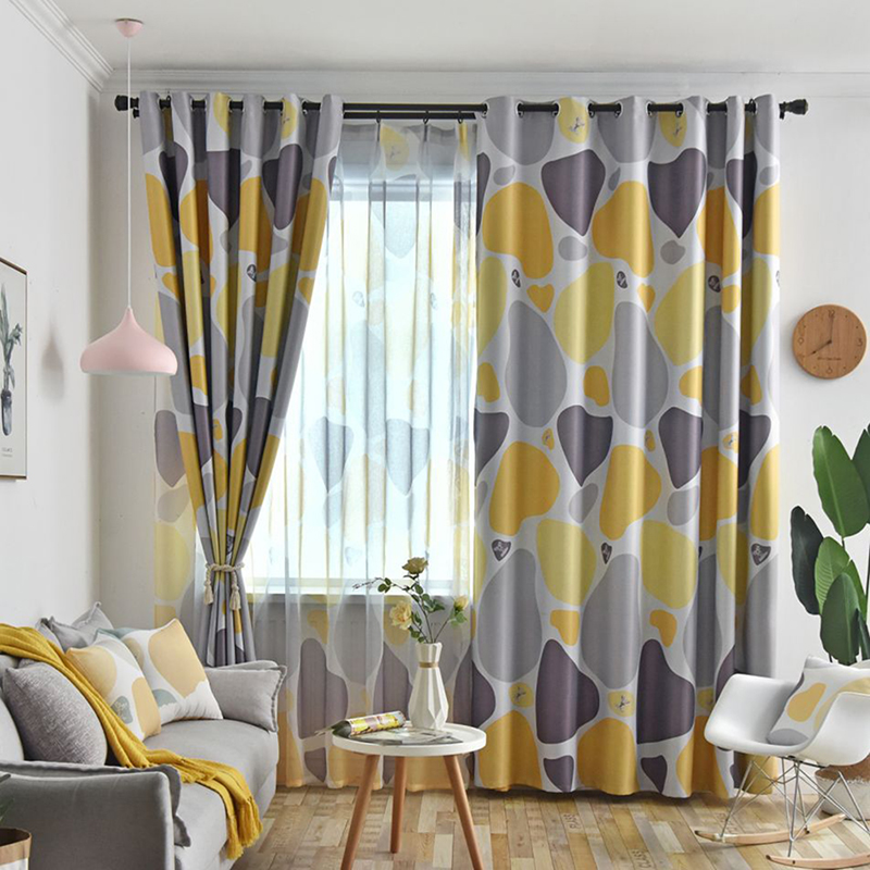 Nordic Style Heart Stone Printed Fabric Curtains For Bedroom Living Room Window Treatments Simple Tulle For Kitchen