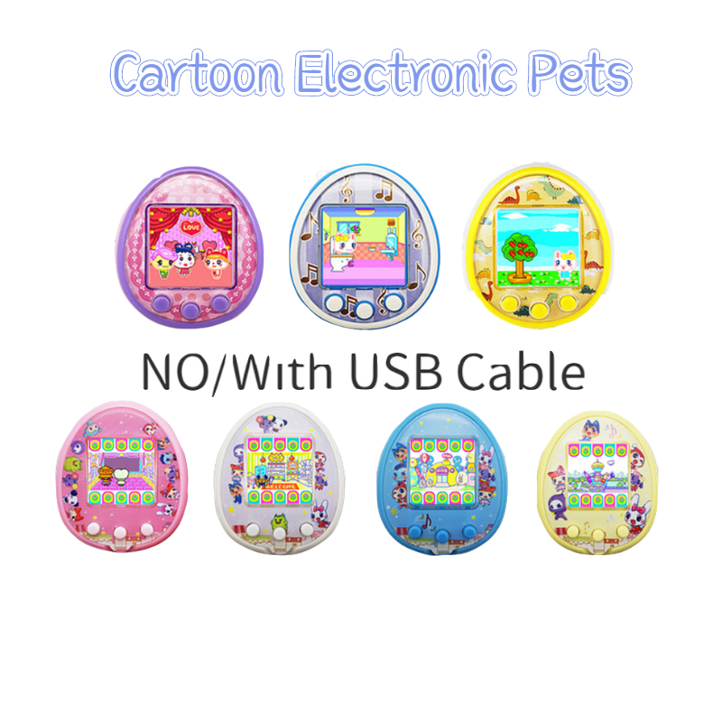 Cartoon Electronic Pets Charging Digital Pet Interactive Toy 90S Nostalgic Handheld Virtual Dating Electronic Gadgets And Cover