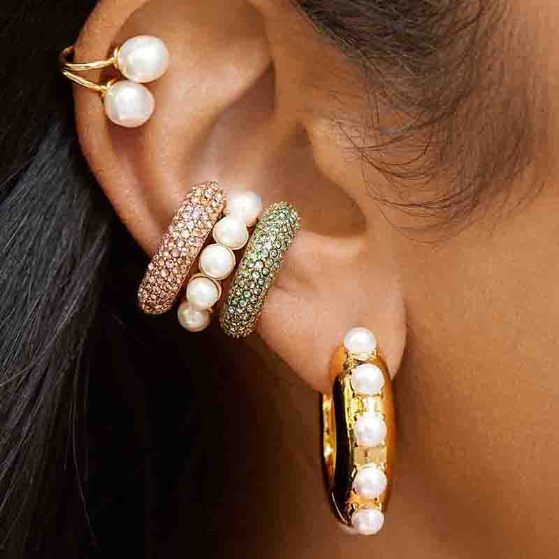 Boho Trendy Pearls Ear Cuff Earring For Women Girls Fashion Rainbow Cubic Zirconia Stones Small Clip Earring Bohemia Ear Jewelry