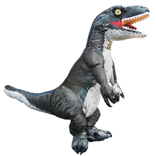 大人velociraptor tレックス恐竜インフレータブル衣装パーティー衣装ハロウィンコスチューム男性女性ファンシードレススーツ