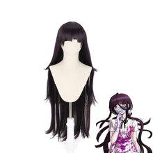 Dtft peruca longa ronpa tveriki m264, fantasia feminina cosplay danganronpa, cabelo sintético resistente ao calor, para halloween