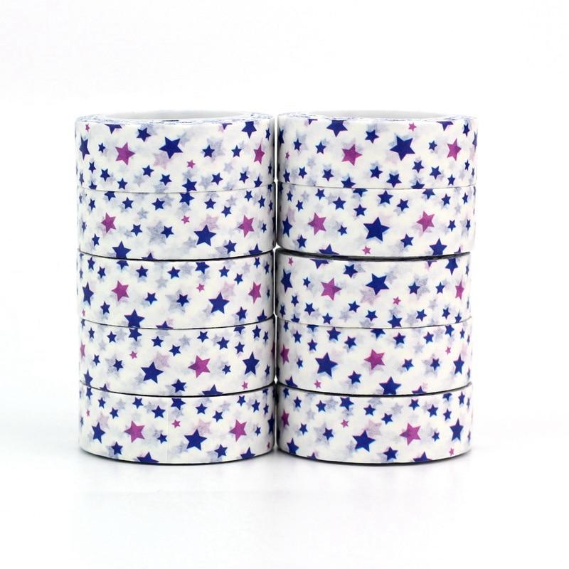 10PCS/lot Decorative Mixed Color Blue Stars Washi Tapes Paper DIY Scrapbooking Planner Adhesive Masking Tapes Kawaii Stationery