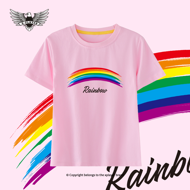 Boys & Girls Clothes Cartoon Rainbow Print Short Sleeve Kids T-Shirts Fashion Baby Tee For 2-8Years Childrens Cotton Summer Tops