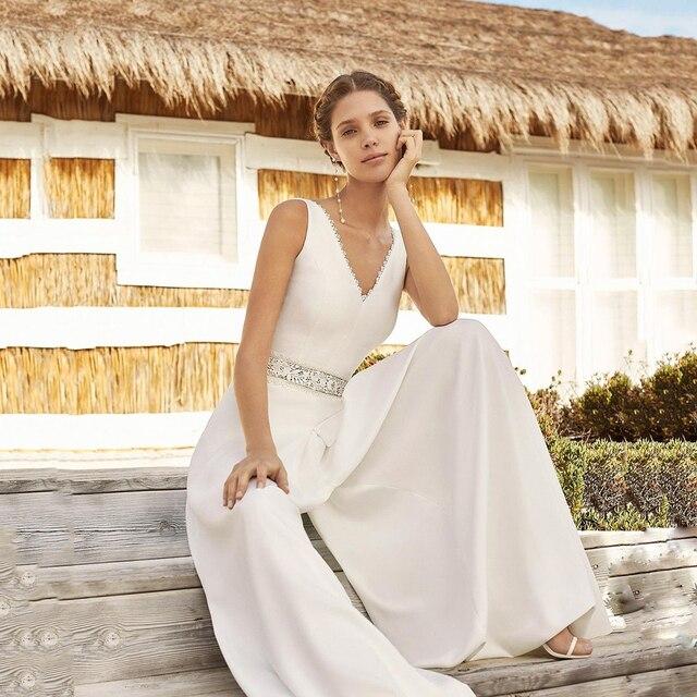 New Ivory A-Line Pant Suit Wedding Dresses Vestido De Novia Jumpsuit V Neck Satin Bridal Gowns Sleeveless Beading Belt Open Back 2