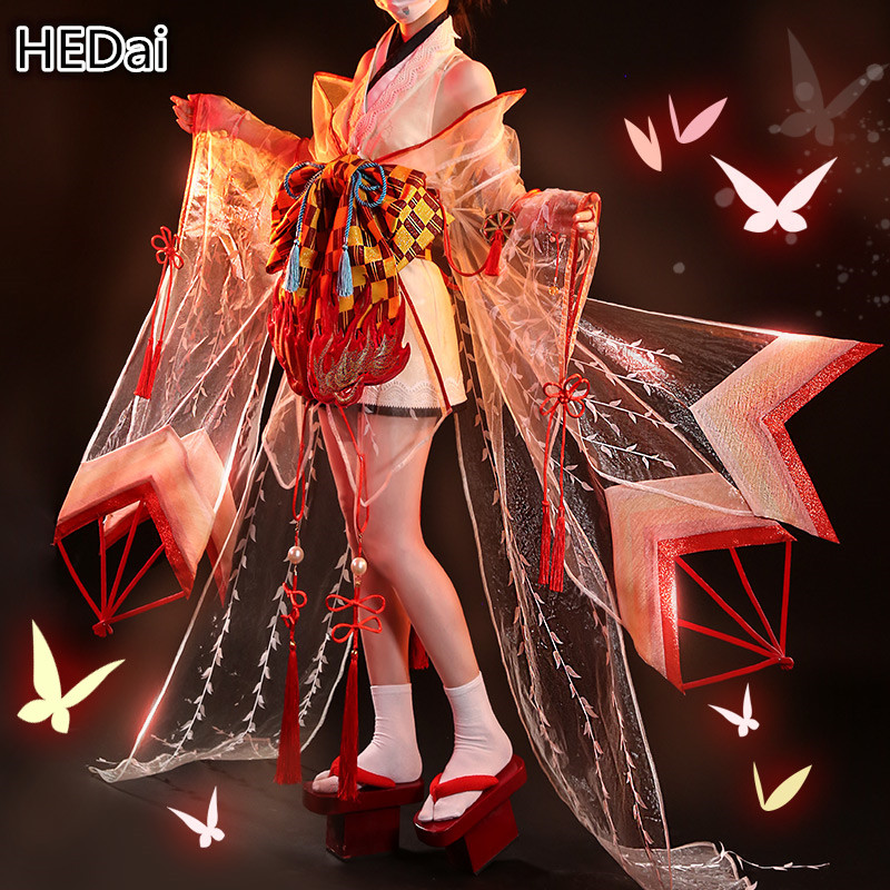Game Onmyoji SSR Shiranui Diver Ahri Cosplay Costume Kimono Woman Sexy Dress Christmas Gift Sets Wig Shoes Costumes Outfits