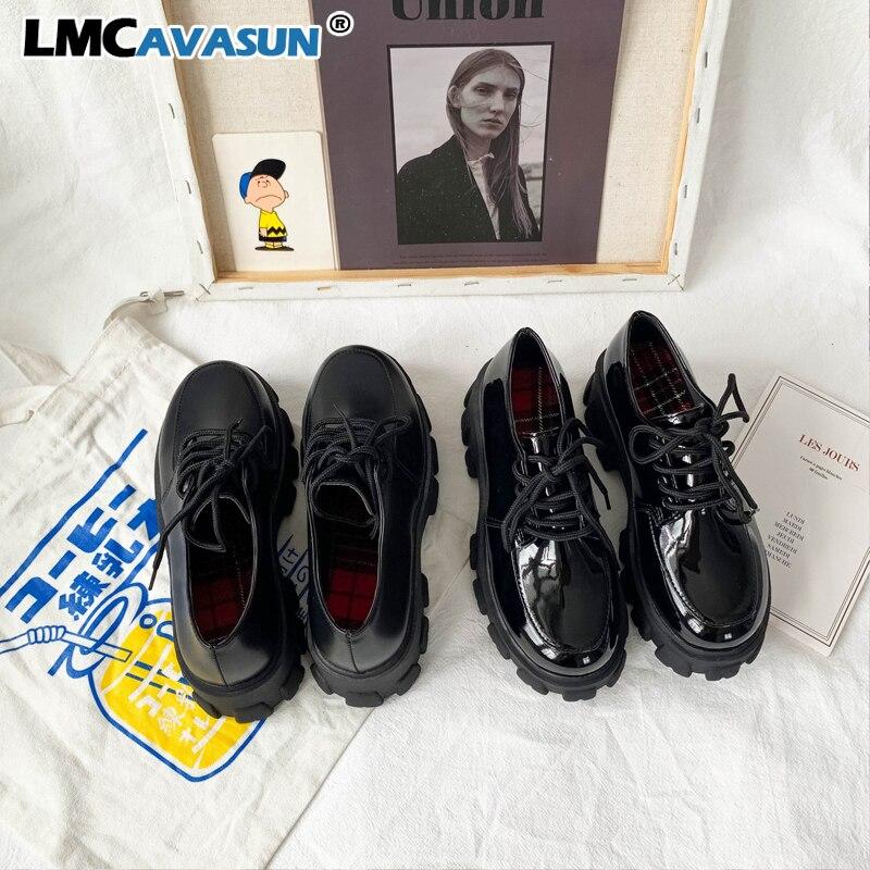 LMCAVASUN/Весенняя женская обувь; Удобная обувь из искусственной кожи на плоской подошве со шнуровкой; Женская повседневная обувь на плоской по...