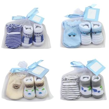 Baby Socks+Anti-Scratch Gloves Set for Baby Boys Infant 0-6 Months Newborn Gifts Cotton keeping feet comfortable warm
