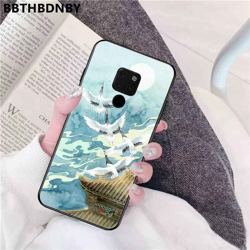 日本美術クレーン黒 Tpu ソフト電話ケース Huawei 社 P10 lite P20 プロ lite P30 プロ lite Psmart メイト 20 プロ lite の