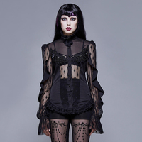Gothic Punk Womens Tops And Blouses Black Hollow Out Sexy Shirts High Neck Cross Ties