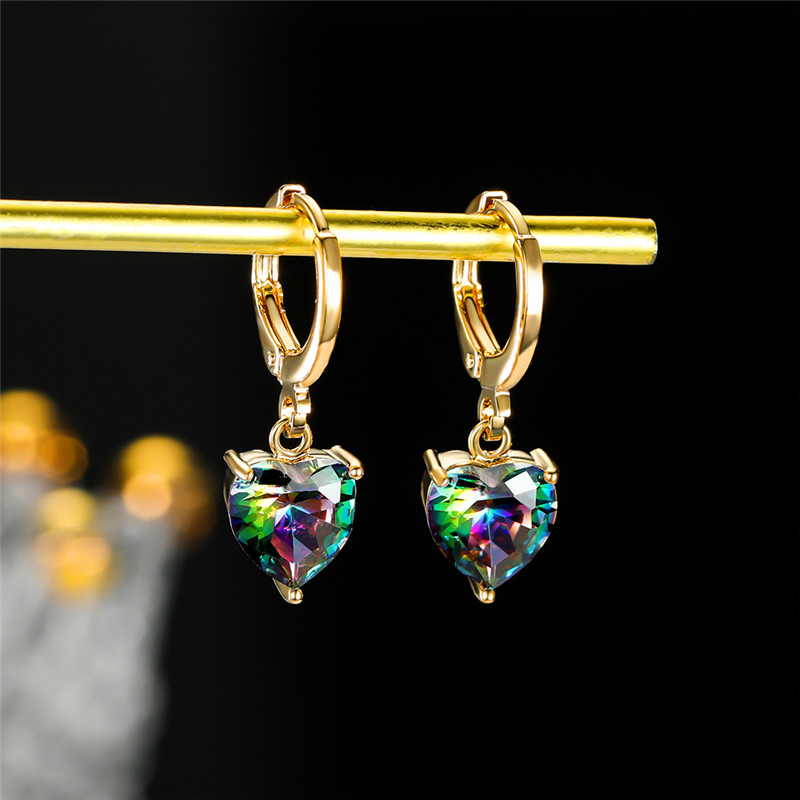 Female Luxury Love Heart Multicolor Hoop Earrings Rose Gold Silver Color Wedding Earring Cute Rainbow Crystal Earrings For Women