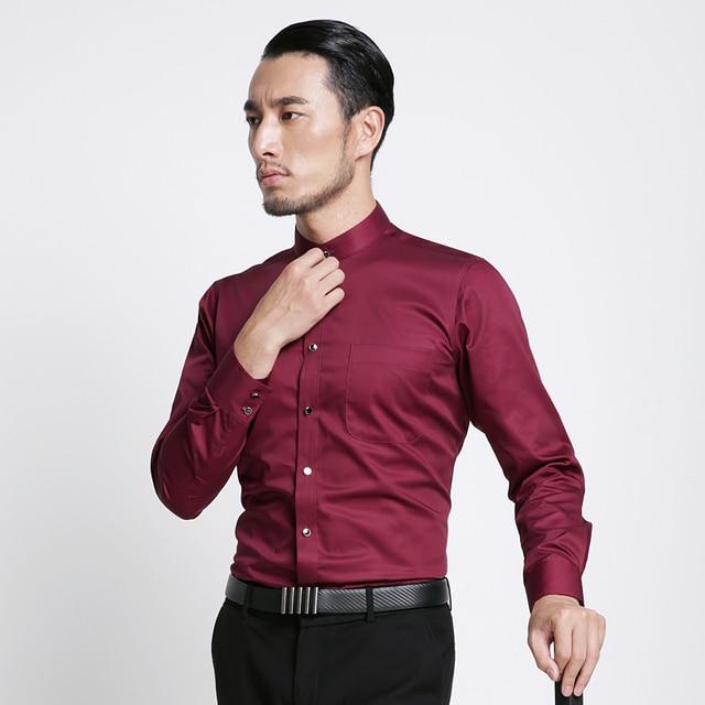 Banded Collar(Mandarin Collar) Solid Dress Shirts 3