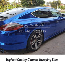 Highest quality Blue Mirror Chrome Vinyl Wrap Car Wrapping Film Chrome Gloss Blue Foil 5ft X 59ft/Roll Multiple colors
