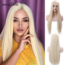 AISI QUEENS Synthetic Lace Front Wigs Long Straight 613 Blonde for Women Pink Bl