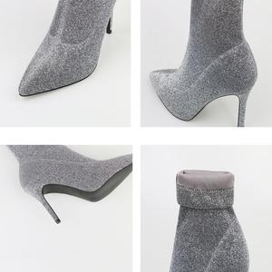Image 5 - SEGGNICE Botas de calcetín de tacón alto para mujer, Botines de tacón fino, botines sexys a la moda para otoño e invierno, botas con lentejuelas, 2019
