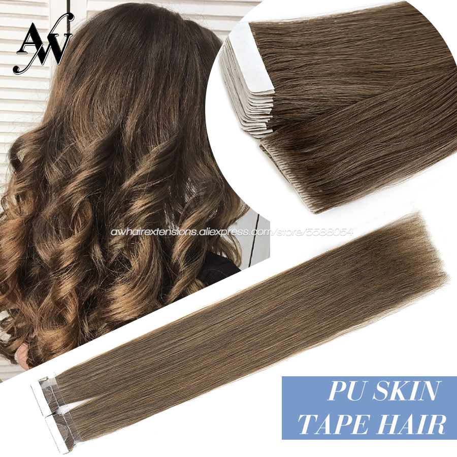 AW 16'' 20'' 24'' Straight Hand Tied Tape PU SkIn Adhesive Human Hair Extensions Natural Seamless Remy Tape In Hair Extensions