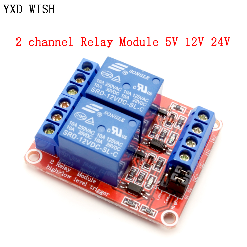 2 channel Relay Module 5V 12V 24V High and Low Level Trigger Relay Control With Optocoupler Two Way Relays DC 5 V 12 V 24 V Volt