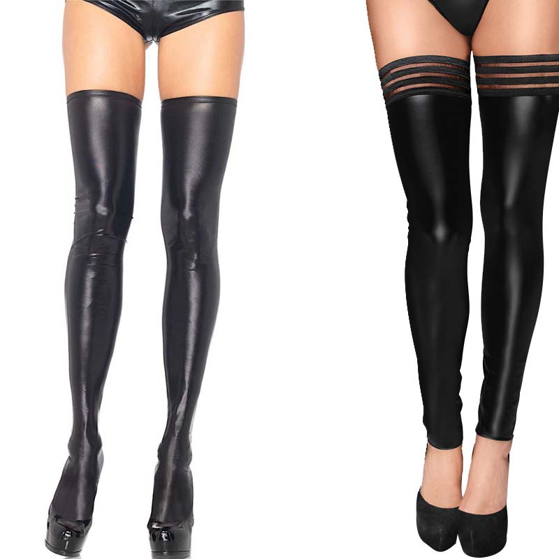 Sexy Black Faux Leather Fetish Wet Look Metallic Thigh-Highs Thigh High Stockings With Non-Slip Stay Up Plus Size