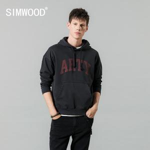 Image 2 - SIMWOOD 2020 spring winter new hooded hoodies high quality letter print sweatshirts men 100% cotton vintage clothes 190378