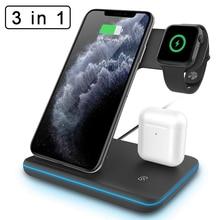 Беспроводное зарядное устройство Qi 3 в 1, зарядная док станция для Iphone 11 Pro Max XR XS MAX X 8 + Apple Watch Series 4 3 2 Airpods Pro 1 2, 15 Вт
