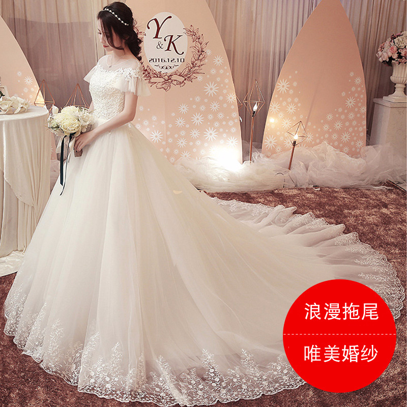 Luxury Lace Appliques Wedding Dress Long 2019 Ball Gown Scoop White Wedding Gown For Bride Crystal Pearls Bridal Gown Robe De Ma