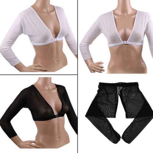 แฟชั่นผู้หญิงเสื้อ PLUS ขนาด Seamless Shaper สั้นตัด Navel ตาข่าย Cardigan Tops 3FS