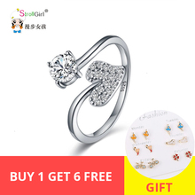 StrollGirl new 925 sterling silver heart shaped shiny CZ Rings open adjustable fashion ring woman jewelry Valentine's day gift стоимость