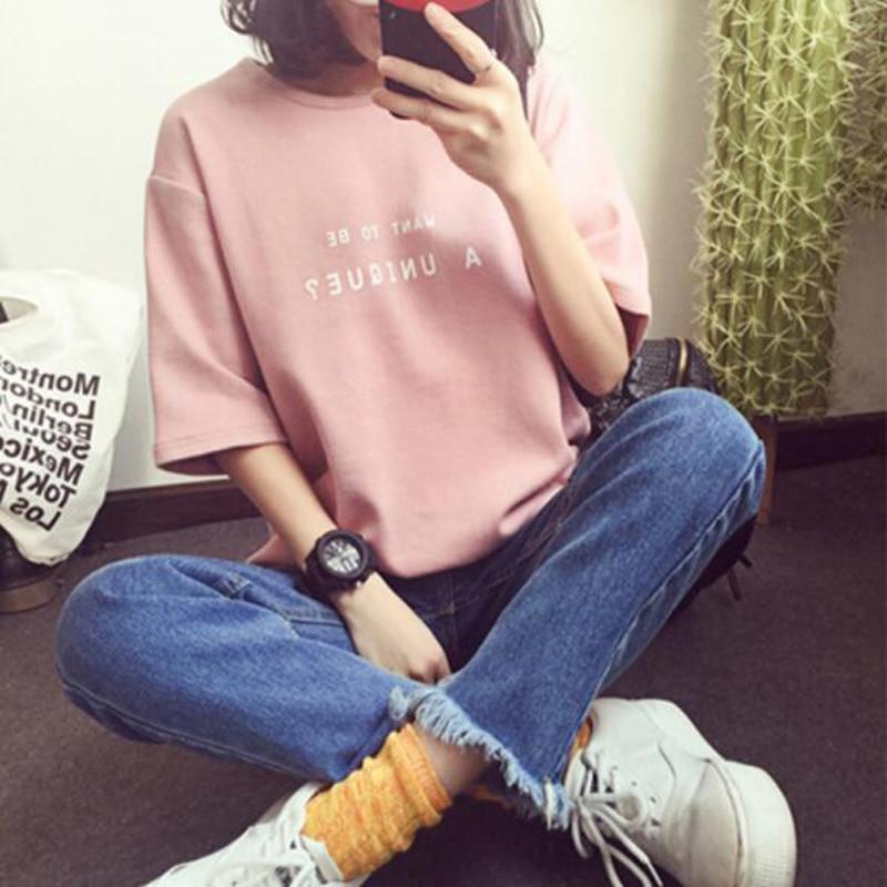 Women T-shirt Fashion Letters Print Short Sleeve Round Neck Cotton T Shirt Femme Soft Comfortable Tops