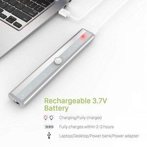 Image 4 - 10 LED אלחוטי Motion חיישן קבינט אור מגנטי מקל על USB נטענת חיישן אורות למטבח חדר שינה ארון אמבטיה