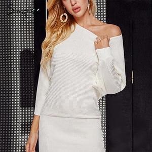 Image 5 - Simplee уличное трикотажное платье, сексуальное однотонное мини платье с круглым вырезом и рукавами «летучая мышь», повседневное шикарное осеннее платье пуловер