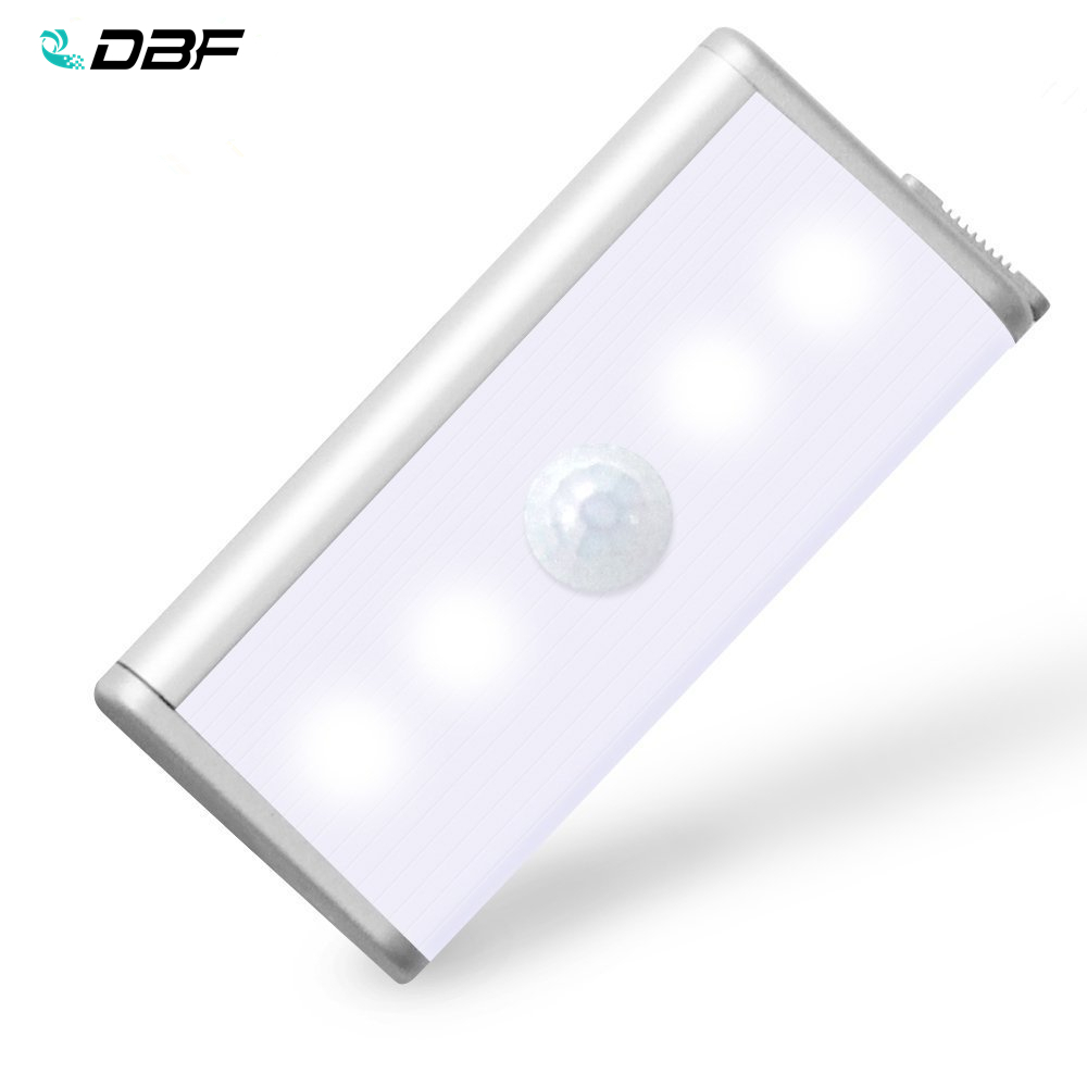 [DBF]4leds Rechargeable PIR Motion Sensor LED Night Light For Hallway Pathway Staircase Magnetic Wall Lighting Led Sensor Light