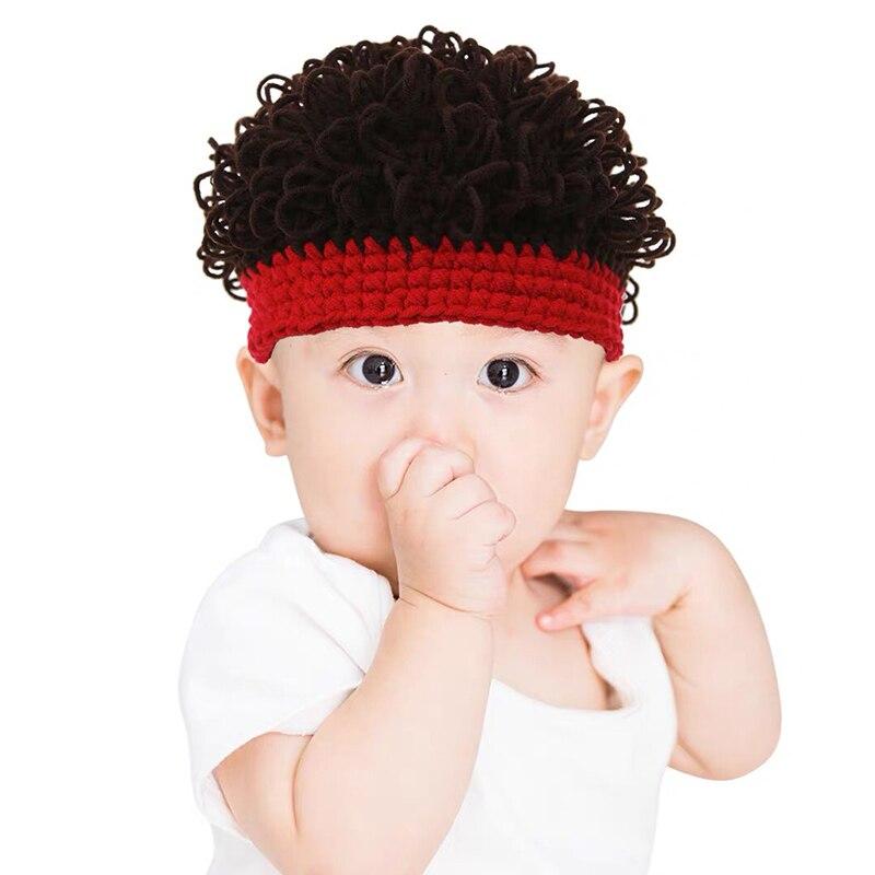 Toddler Wig Afro-hair Dreadlocks Hat Hobo Mad Scientist Rasta Caveman Handmade Winter Knit Warm Cap Gift Funny Party Beanies Kid