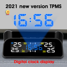 Develuck TPMS Car Tire Pressure Monitor System Automatic Clock Control Solar Power Adjustable LCD screen Display Wireless 4 tire