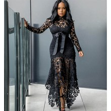 Elegant Women Bodycon Dress Sexy Hollow Lace Mesh Maxi Dress Summer Lace Patchwork Party Dress