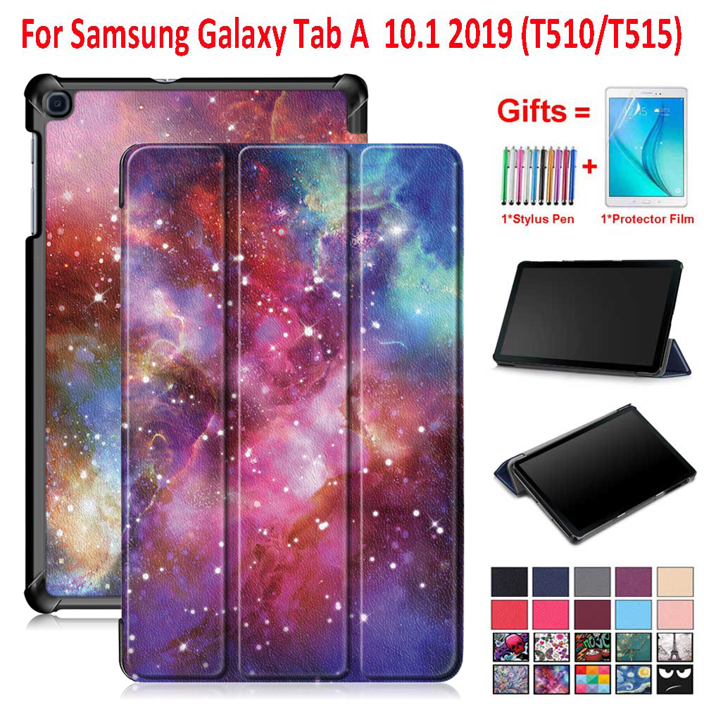 For Samsung Galaxy Tab A 2019 Case Cover 10.1 Inch Tablet SM-T510 SM-T515 T510 T515 Magnetic Trifold Stand Case + Gifts