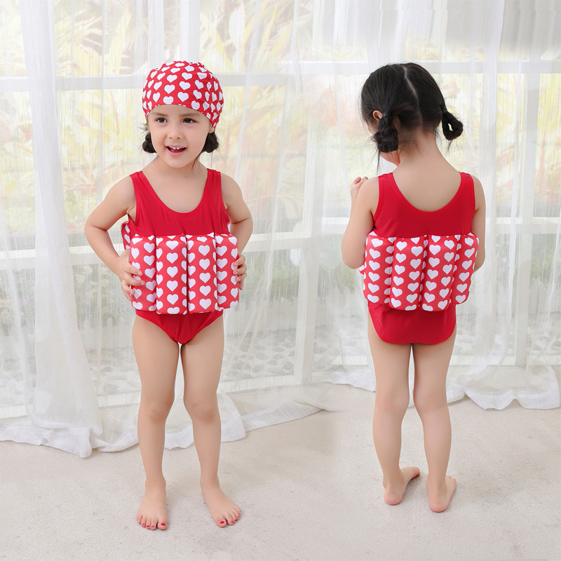 Men And Women-One-piece Swimming Suit Buoyancy Bathing Suit With Hat KID'S Swimwear Hot Springs Clothing
