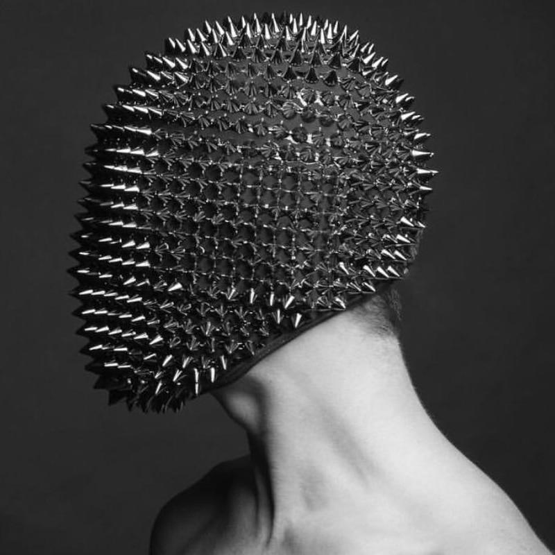 Nightclub Rivet Headgear Black Rhinestone Mask GoGo Dance Wear Party Dress Bar Ds Performance Hair Ornaments Accessories VDB915