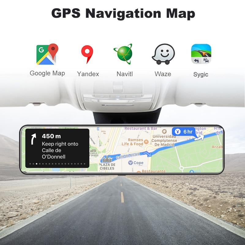 "OBEPEAK D80 12"" Car DVR Rearview Mirror 4G Android 8.1 Dash Cam GPS Navigation ADAS Full HD 1080P Car Video Camera Recorder DVRS 4"