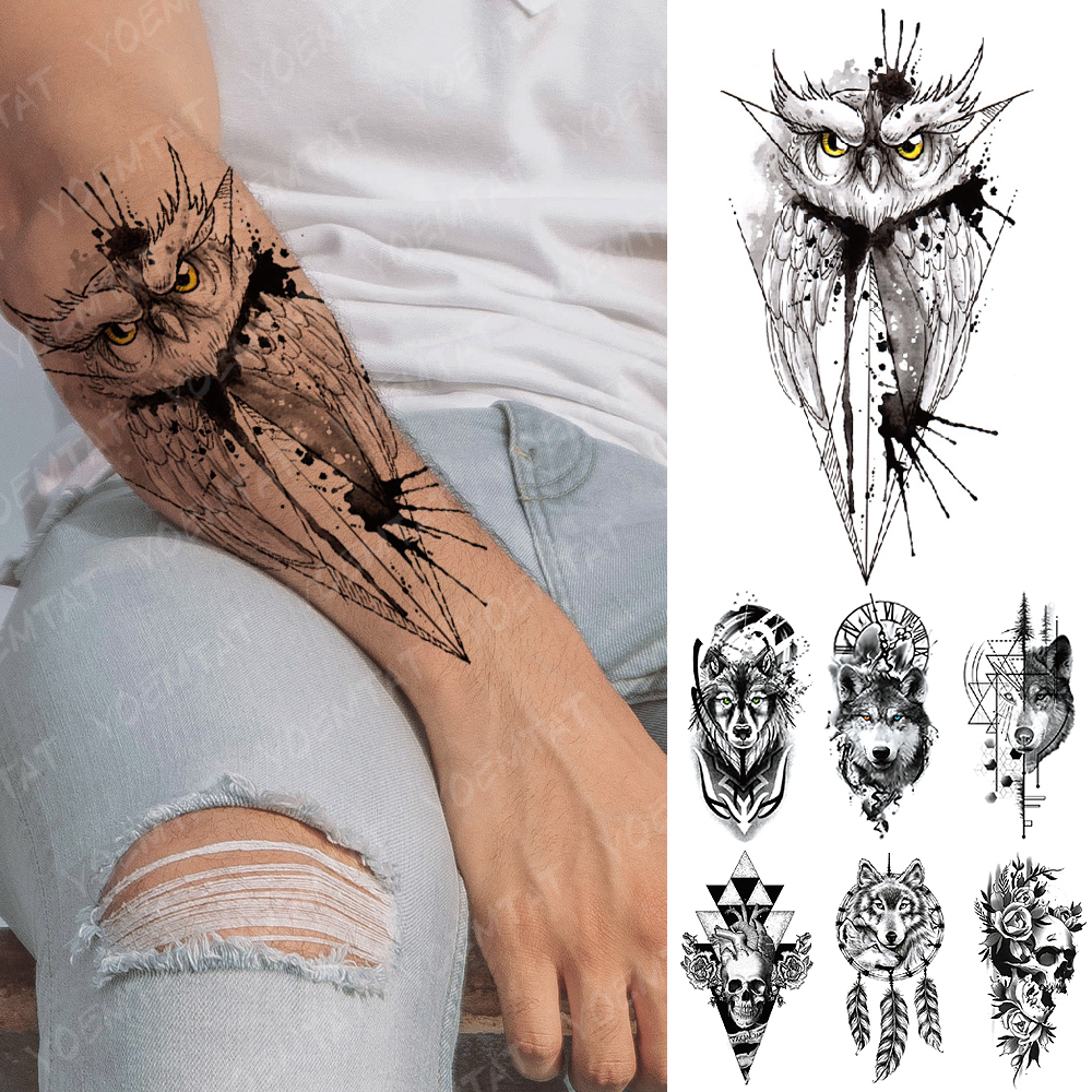 Waterproof Temporary Tattoo Sticker Rose Owl Flash Tattoos Wolf Skull Dreamcatcher Body Art Arm Fake Tatoo Women Men
